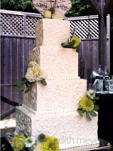 Cornelli lace square wedding cake