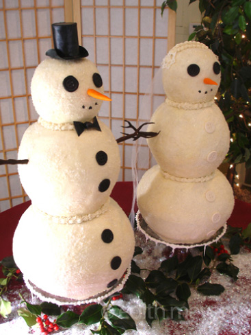 Cakes shaped like snowmen