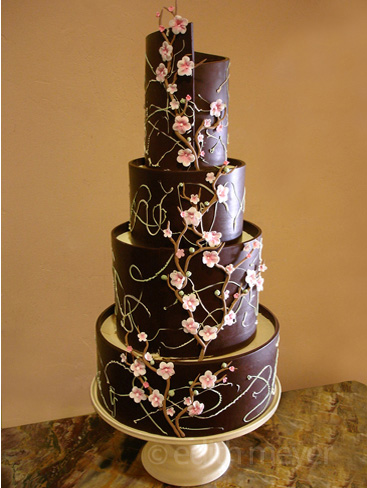 Dark chocolate cherry blossom cake