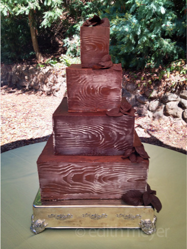 Faux wood chocolate cake