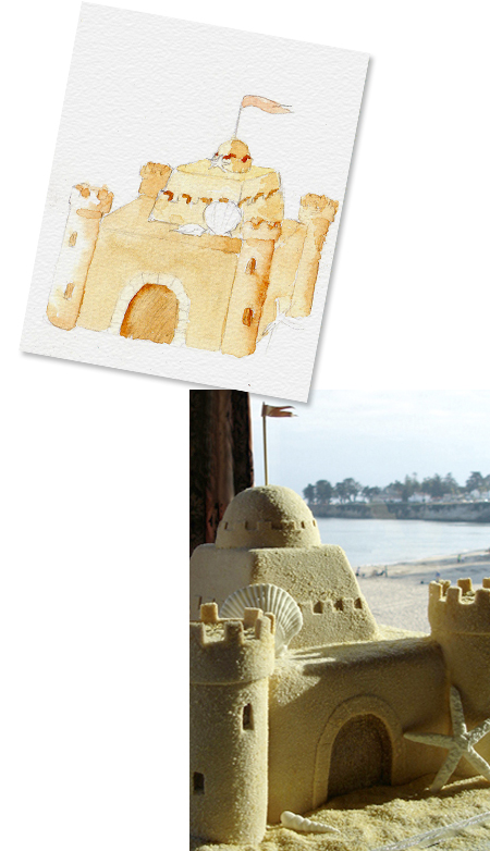 Watercolor sketch of sandcastle beach wedding cake