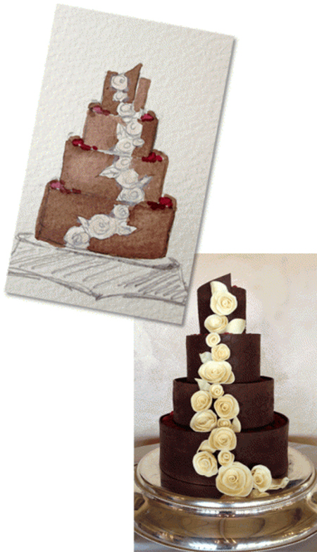 Watercolor sketch of chocolate wedding cake